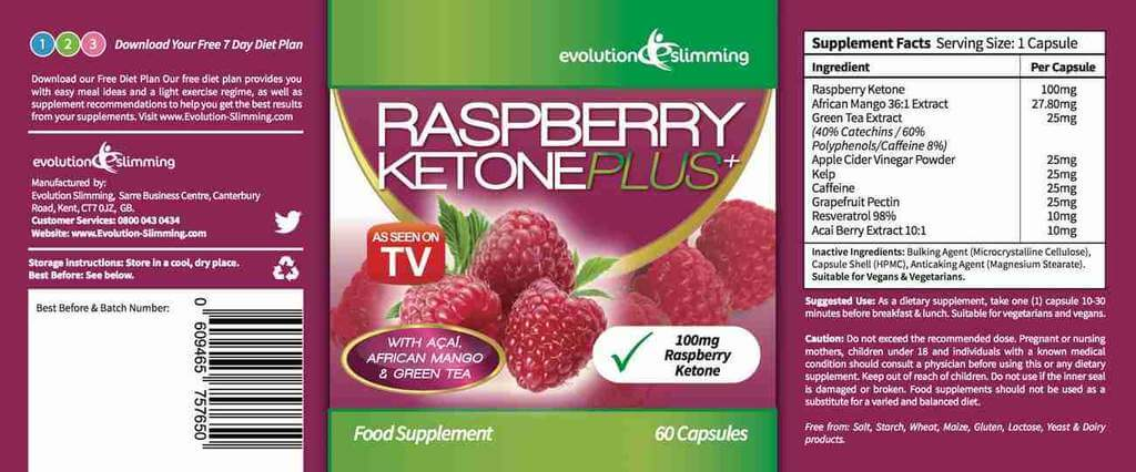 Raspberry Ketone Plus Label