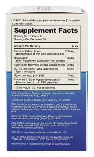 Instaflex Advanced supplement label